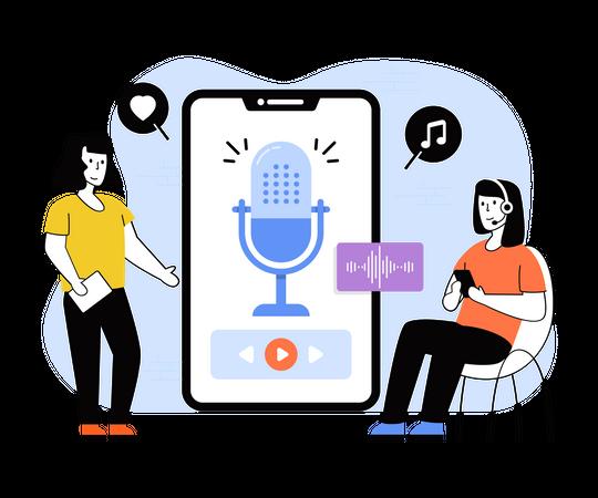 Mobile podcast recording Illustration