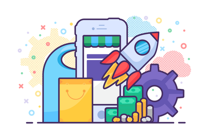 Mobile sale store launching application vector Illustration