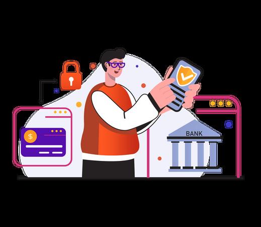 Mobile secure banking Illustration