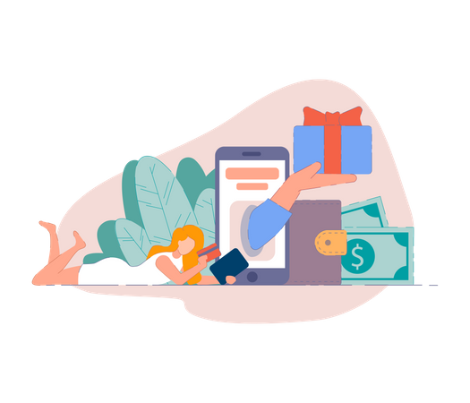Mobile shopping from smartphone app and pay online with credit card Illustration
