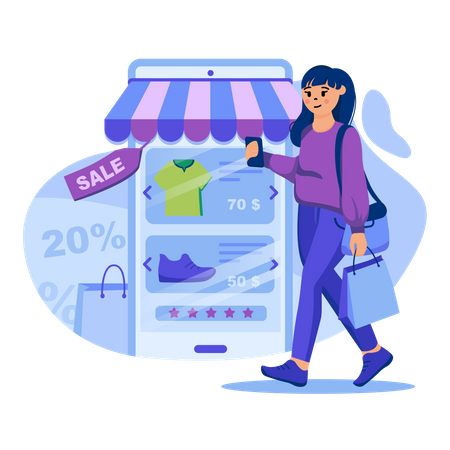 Mobile shopping Payment Illustration