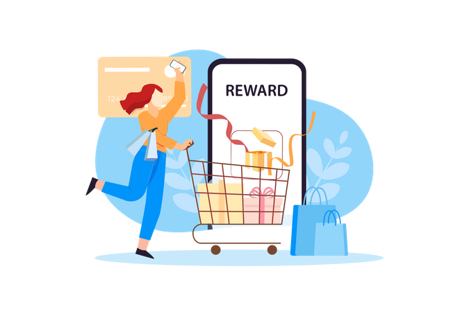 Mobile Shopping Rewards Illustration