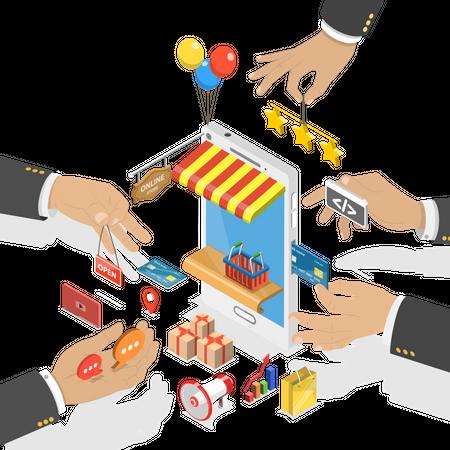 Mobile store development Illustration