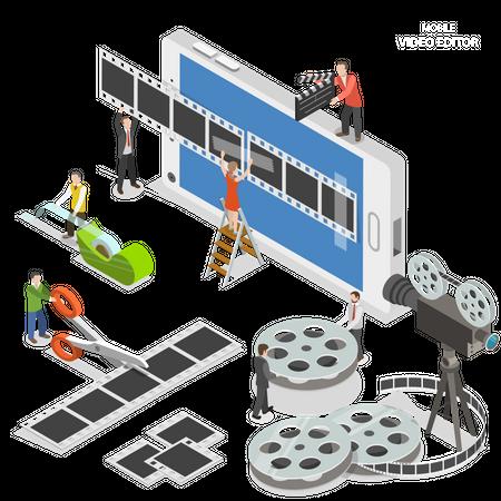 Mobile video editor Illustration