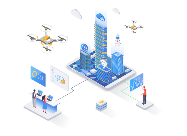 Modern architecture and digital technologies Illustration