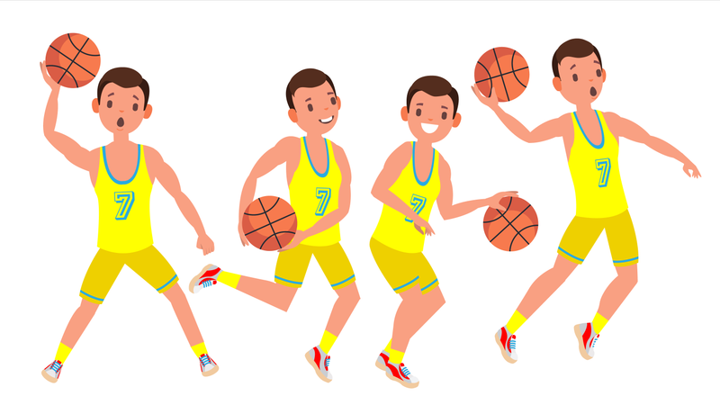 Modern Basketball Player Man Vector. Sports Concept. Running Jump With Ball. Sport Game Competition. Isolated On White Cartoon Character Illustration Illustration