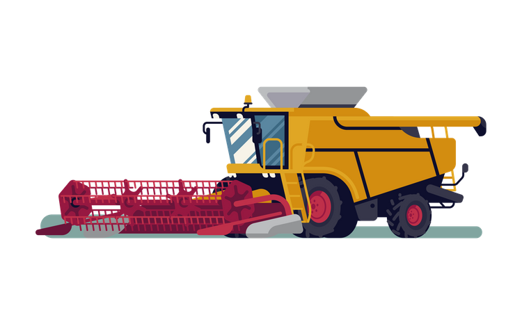 Modern combine harvester Illustration