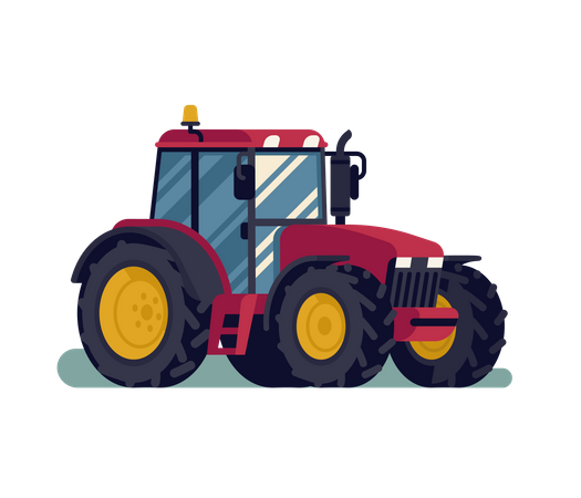 Modern farm field compact tractor Illustration