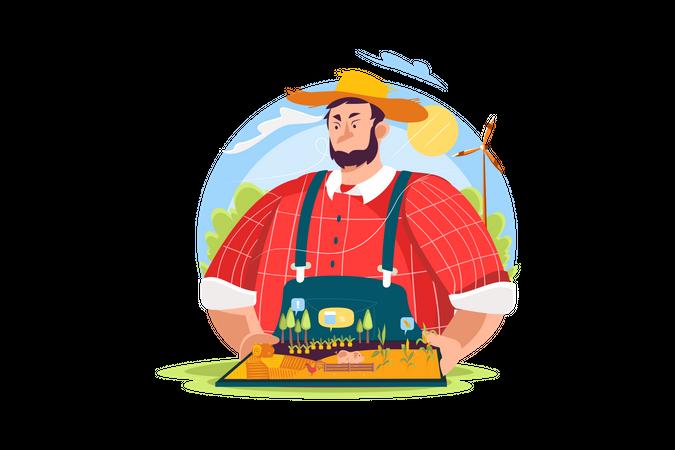Modern farmer using Augmented reality to control farm Illustration