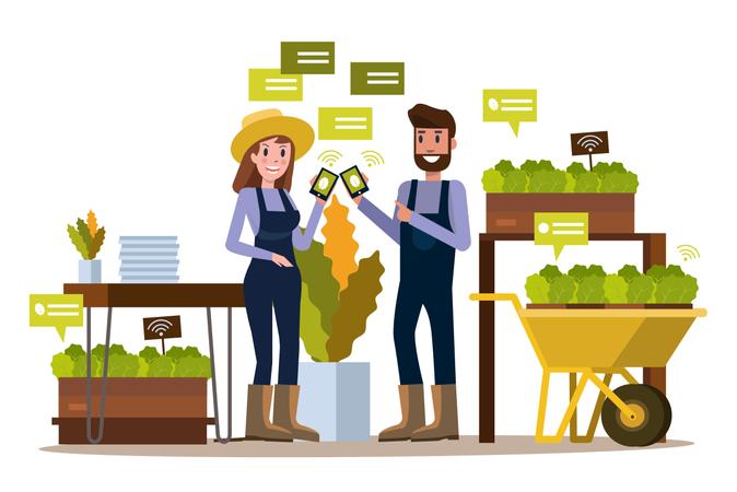 Modern farmer using smartphone  in greenhouse. Illustration