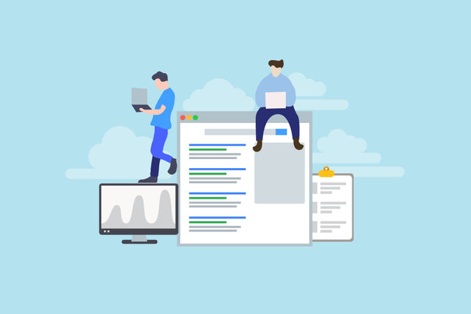Modern Flat design people and SEO optimized pages business concept Illustration