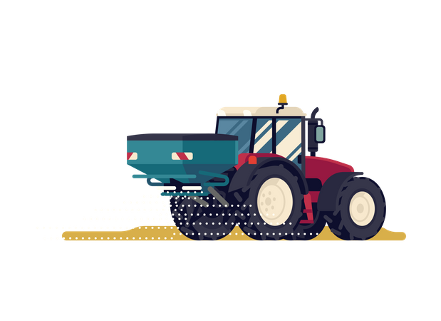 Modern four wheel drive tractor with centrifuge fertilizer spreader or broadcast spreader attachment Illustration