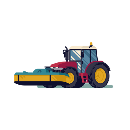 Modern four wheel tractor with front mower attachment in lifted and operating positions Illustration