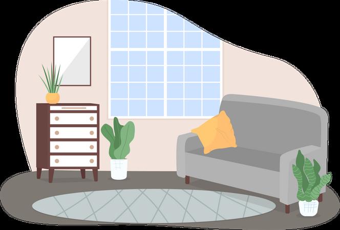 Modern home lounge area Illustration