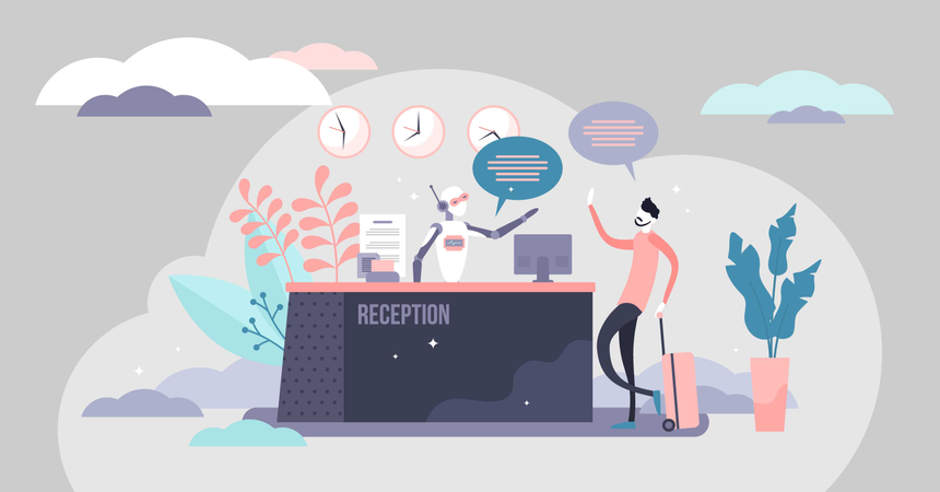 Modern hospitality tourism business future tech innovation Illustration