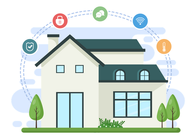 Modern house with smart tools Illustration