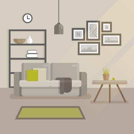 Modern minimal room interior Illustration