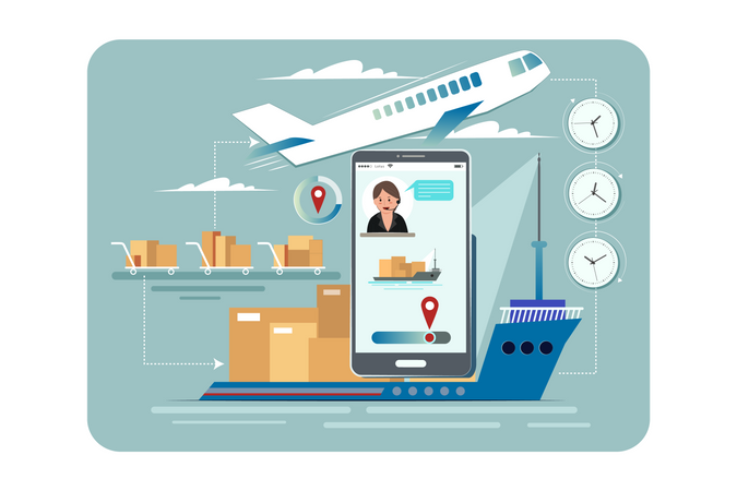 Modern parcel delivery Service via airplane and ship Illustration