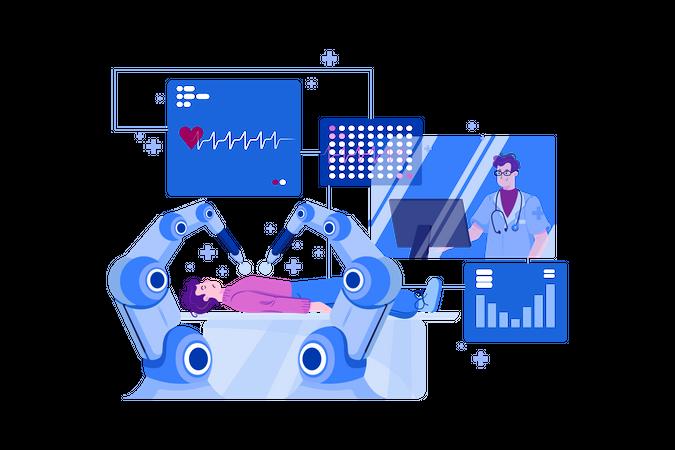 Modern robot doing heart surgery Illustration