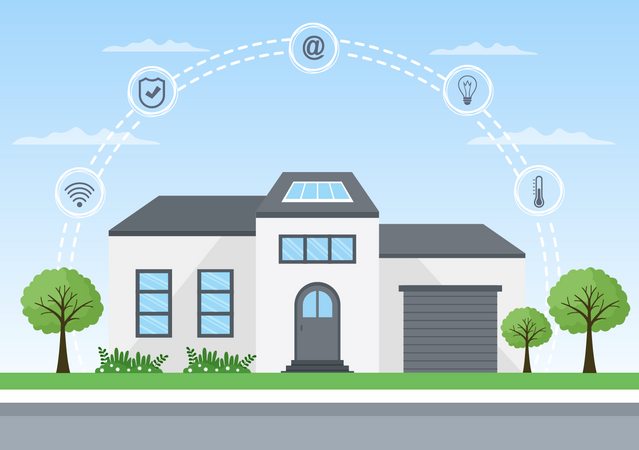 Modern smart house technology Illustration