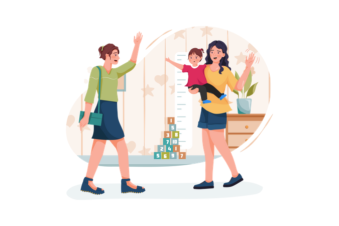 Modern stylish babysitter nanny holding baby playing with kids and waving farewell to busy mother Illustration