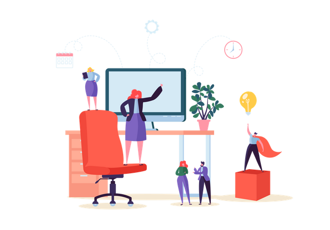Modern Workspace Workplace with Desk and Business People Illustration
