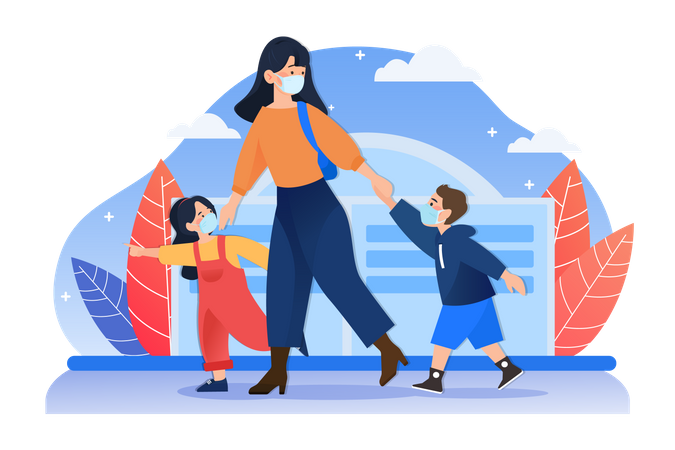 Mom and children with mask walking on street Illustration