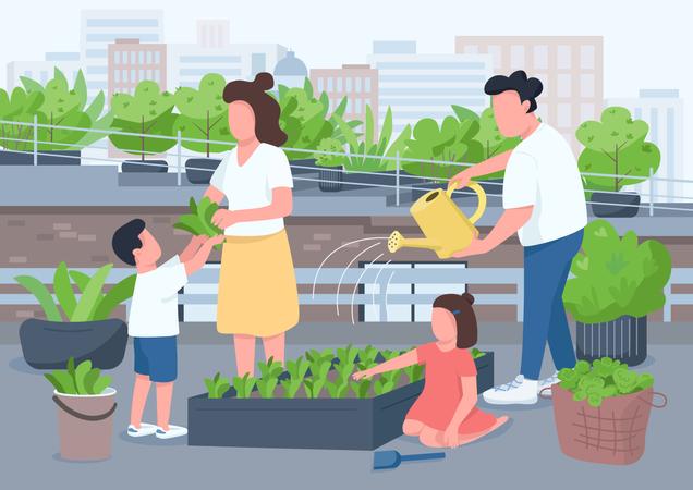 Mom and dad teach kids gardening Illustration