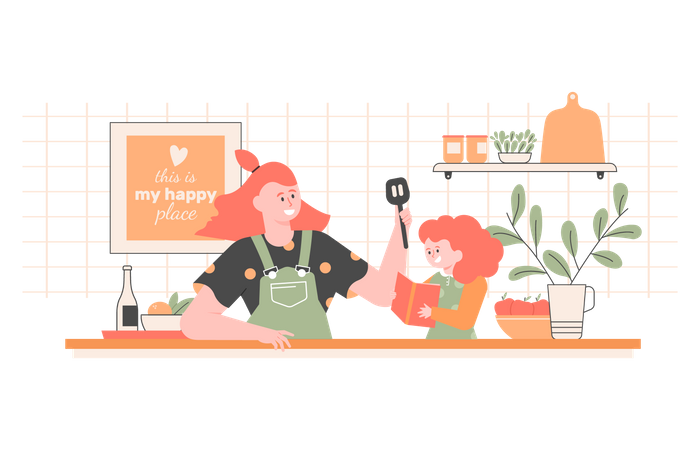 Mom and daughter are cooking together Illustration