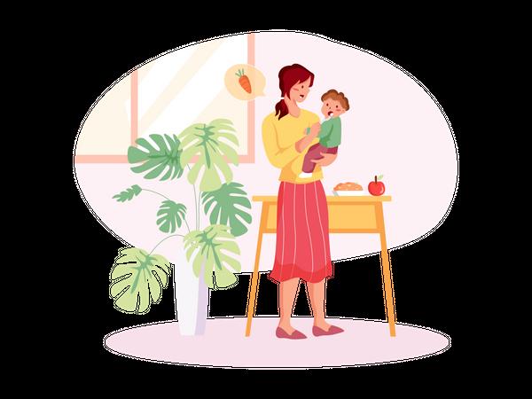 Mom feeding baby boy Illustration