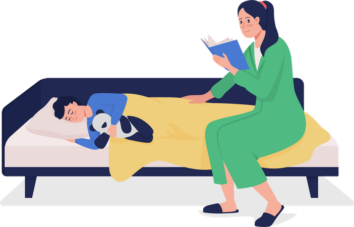 Mom read fairy stories for child Illustration