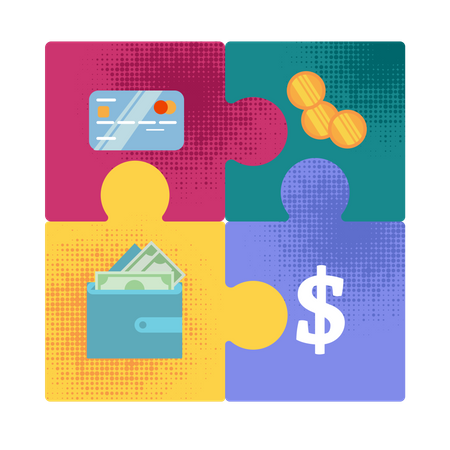 Money Forms Evolution from Golden Coins to Digital Capital Flat Vector Concept with Four Puzzle Pieces with Bank Credit Card, Golden Coins, Dollar Bills in Wallet Connected Together Illustration