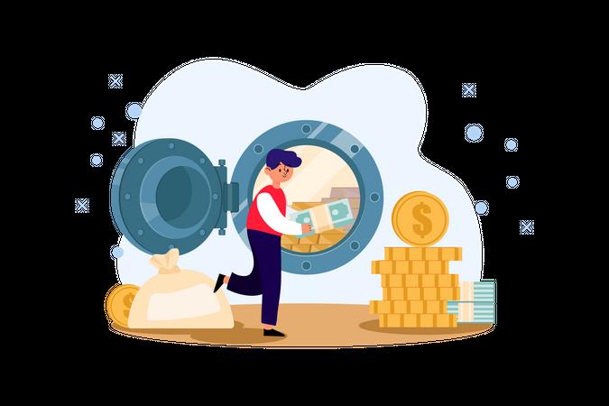 Money in bank locker Illustration