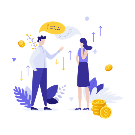 Money investment discussion Illustration