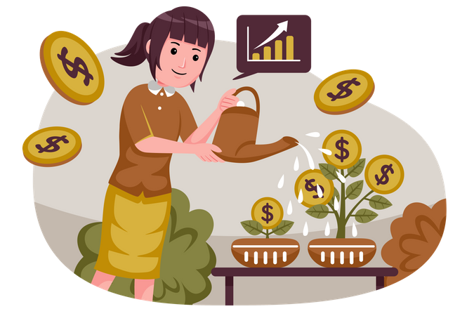 Money investment in business Illustration