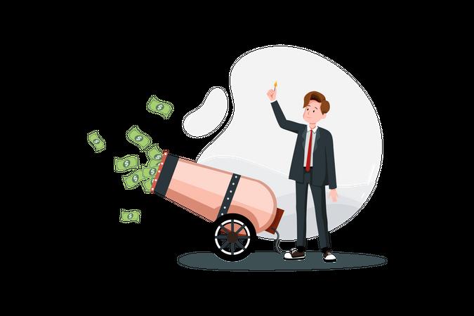 Money profit Cannon Illustration
