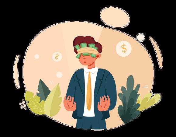 Money thinking employee Illustration