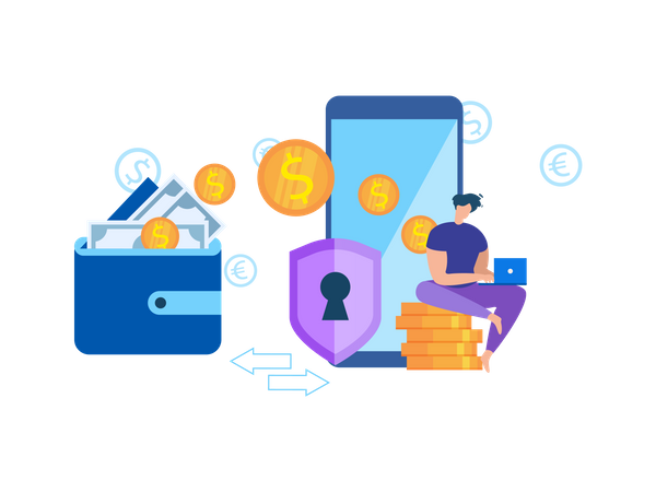 Money Transfer Wallet to Mobile Phone Application Illustration