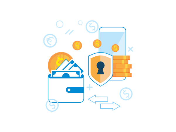 Money transfer with help of mobile wallet Illustration