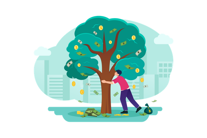 Money tree concept in business Illustration