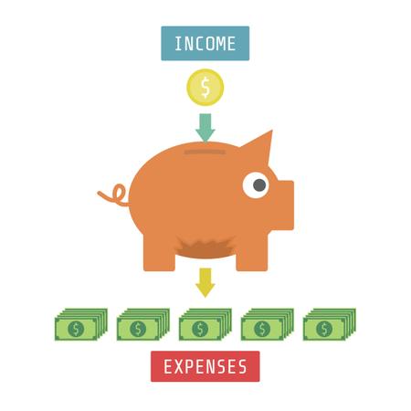 Money With Piggy Bank Isoleted On White Background Illustration