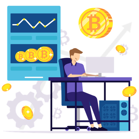 Monitoring Cryptocurrency Illustration