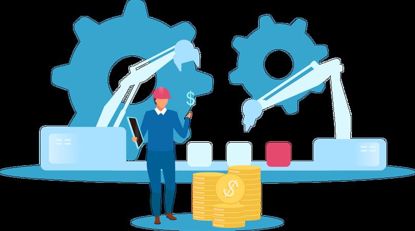 Monitoring Factory Production Illustration