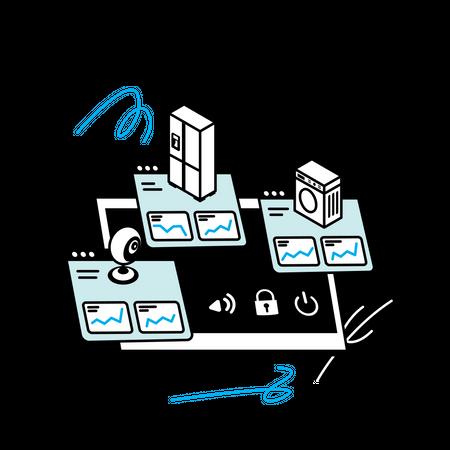 Monitoring home web application Illustration