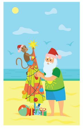 Monkey and santa claus making christmas tree using umbrella Illustration
