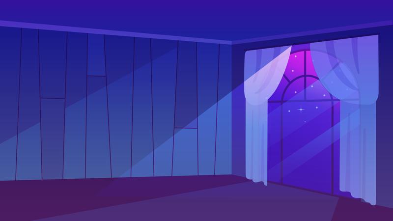 Moon rays shedding light in empty room Illustration