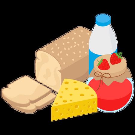 Morning Breakfast Items Illustration