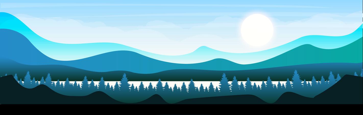 Morning in woodland Illustration