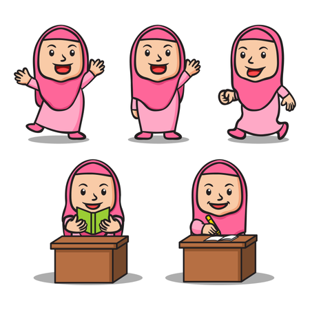 Moslem girl school kids character collection set. Suitable for islamic theme illustration. Illustration
