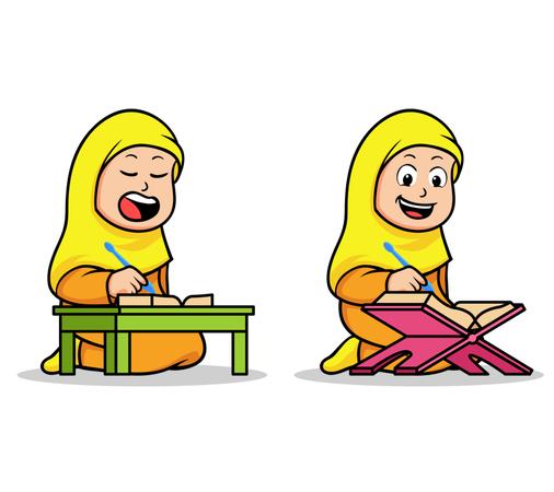 Moslem girl school kids reading holy Koran. Suitable for islamic theme illustration. Illustration